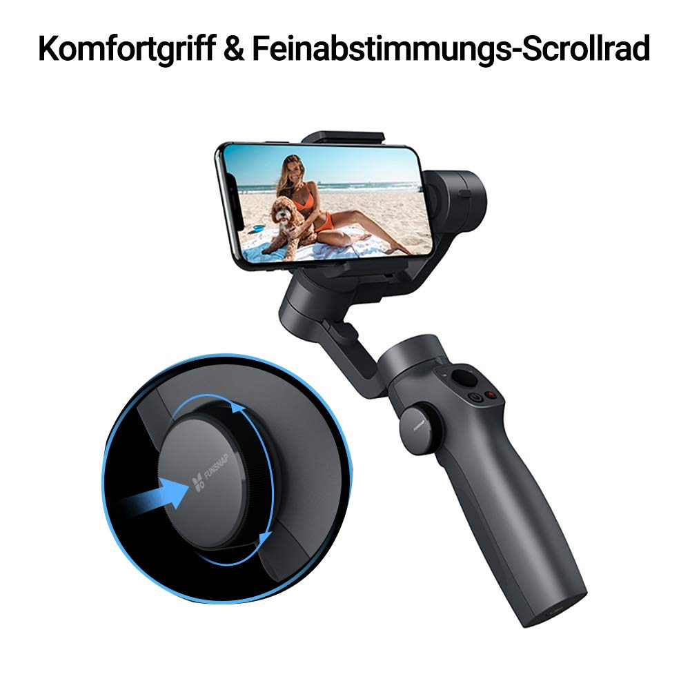 Equipo para YouTube Video Vlog Live Video Apto para iPhone 11 Pro Xs Max Xr X 8 Plus 7 6 Android Smartphone FUNSNAP Capture 2 3-Ejes Estabilizador de Movil Gimbal Port/átil