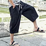 Men's Loose Capri Pants - Mens Cotton Linen