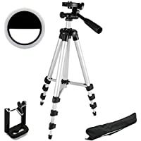 Mobile Link Universal Tripod for Digital Camera and All Phones with Holder, Rechargeable Selfie Ring Light with 3 Modes 36 LED for Phone Photos Tablet iPhone iPad Laptop Camera Photography