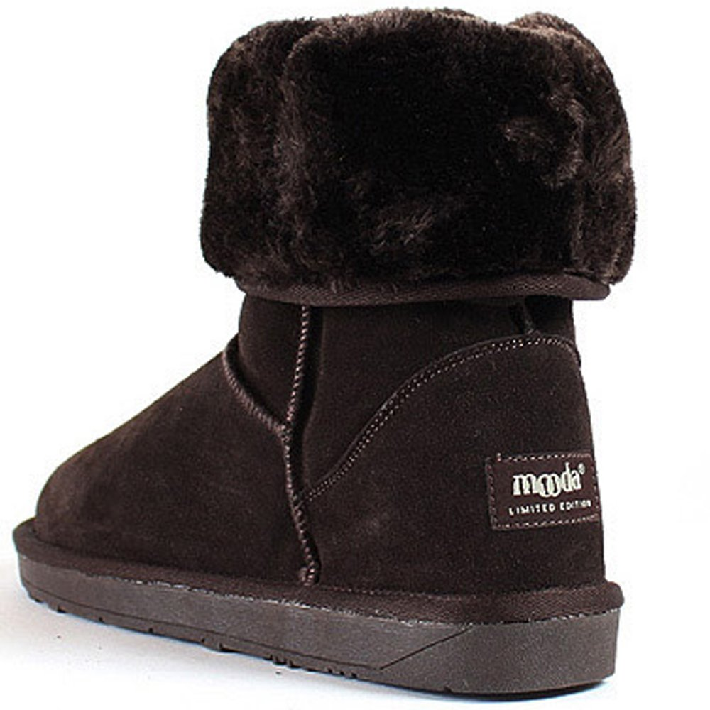 MOODA New Snow Winter Warm Womens Trend Long Boots Leather Shoes Brown