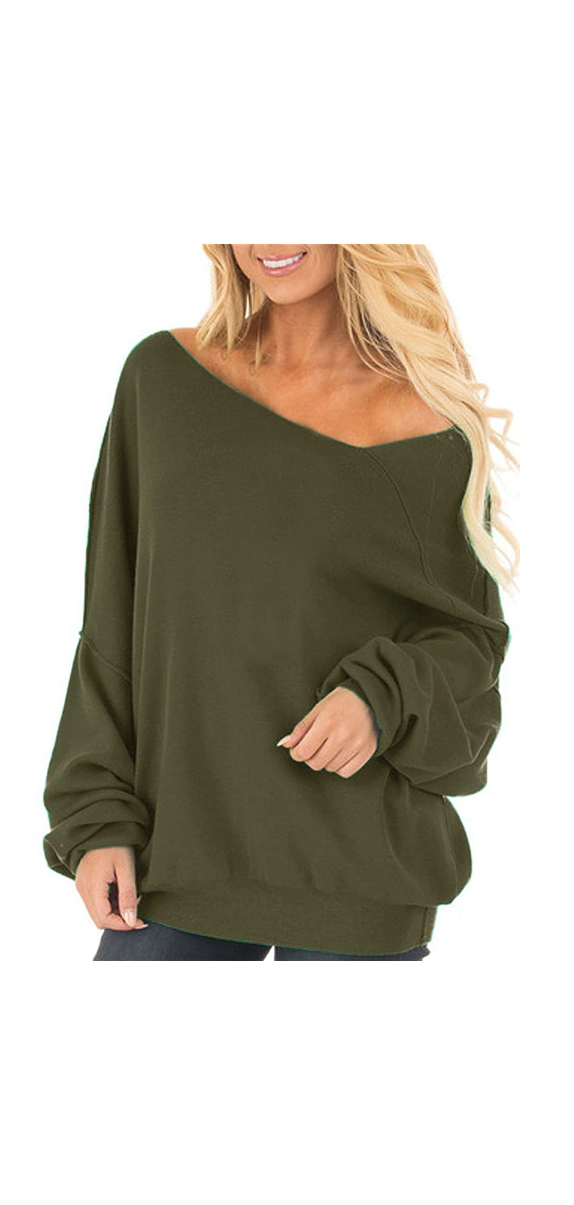 Womens Off The Shoulder Tops Baggy Shirt Long Sleeve Blouse