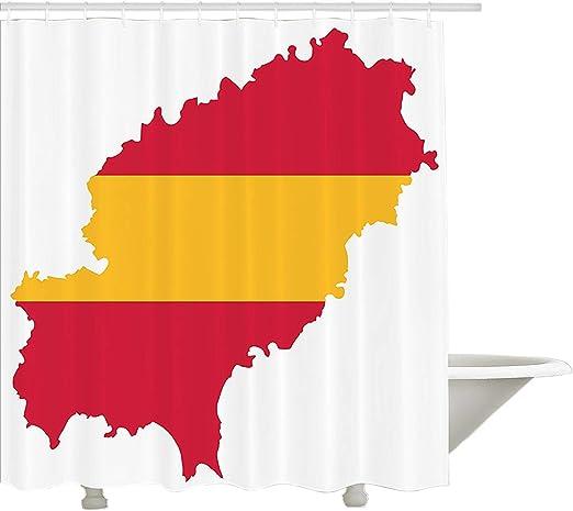 Yeuss Cortina de Ducha Ibiza,Mapa balear con patrón de la Bandera ...
