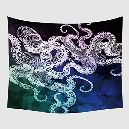 - ARIGHTEX Octopus Tapestry Marine Life Tapestry Geometric Tapestry Wall Hanging 3D Octopus Nautical Ocean Blue Home Decor (60