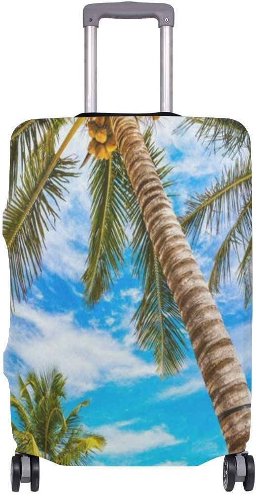 Promini Summer Palm Tree Beach Travel Luggage Cover Suitcase Protector Washable Baggage Covers Spandex Elastic Dustproof 18-32 Inch