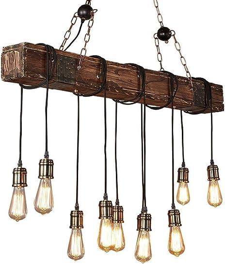 Amazon.com: Lámpara de techo industrial lineal de madera con ...