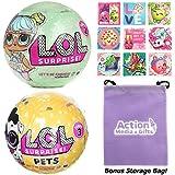 LOL Surprise Dolls Gift Bundle includes (1) L.O.L. Series 2 + (1) Pets Series 3 Wave 2 + 9 Shopkins Stickers + BONUS Action Media Storage Bag!