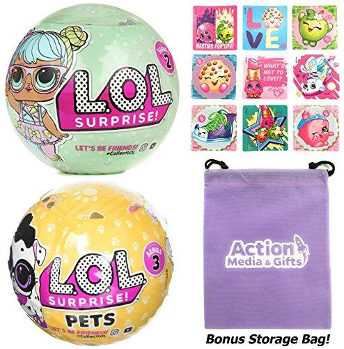 Lol Surprise Dolls Gift Bundle Includes  1  L O L  Series 2    1  Pets Series 3 Wave 2   9 Shopkins Stickers   Bonus Action Media Storage Bag