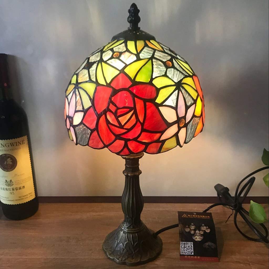 RXY-LAMP Rose Glass Tiffany Bedroom Decoration Lighting European Retro Lamps