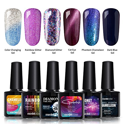 Gel Nail Polish Set, Cat Eyes Gel, Color Changing Gel, Glitter Shiny Gel, Phantom Chameleon Gel and Black gel, 6 Bottles in 1 Set, Required Top Coat and Base Coat, UV LED Curing Dryer Lamp (Set Diamond Two Colour)