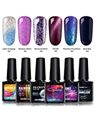 Gel Nail Polish Set, Cat Eyes Gel, Color Changing Gel, Glitter Shiny Gel, Phantom Chameleon Gel and Black gel, 6 Bottles in 1 Set, Required Top Coat and Base Coat, UV LED Curing Dryer Lamp