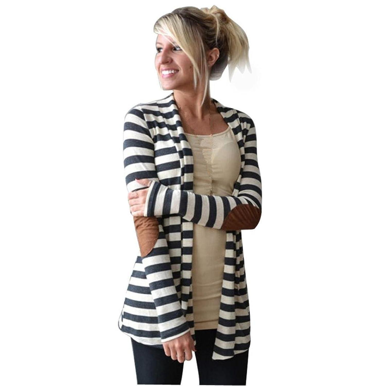 JUNKE Women Casual Long Sleeve Striped Cardigans Patchwork Outwear