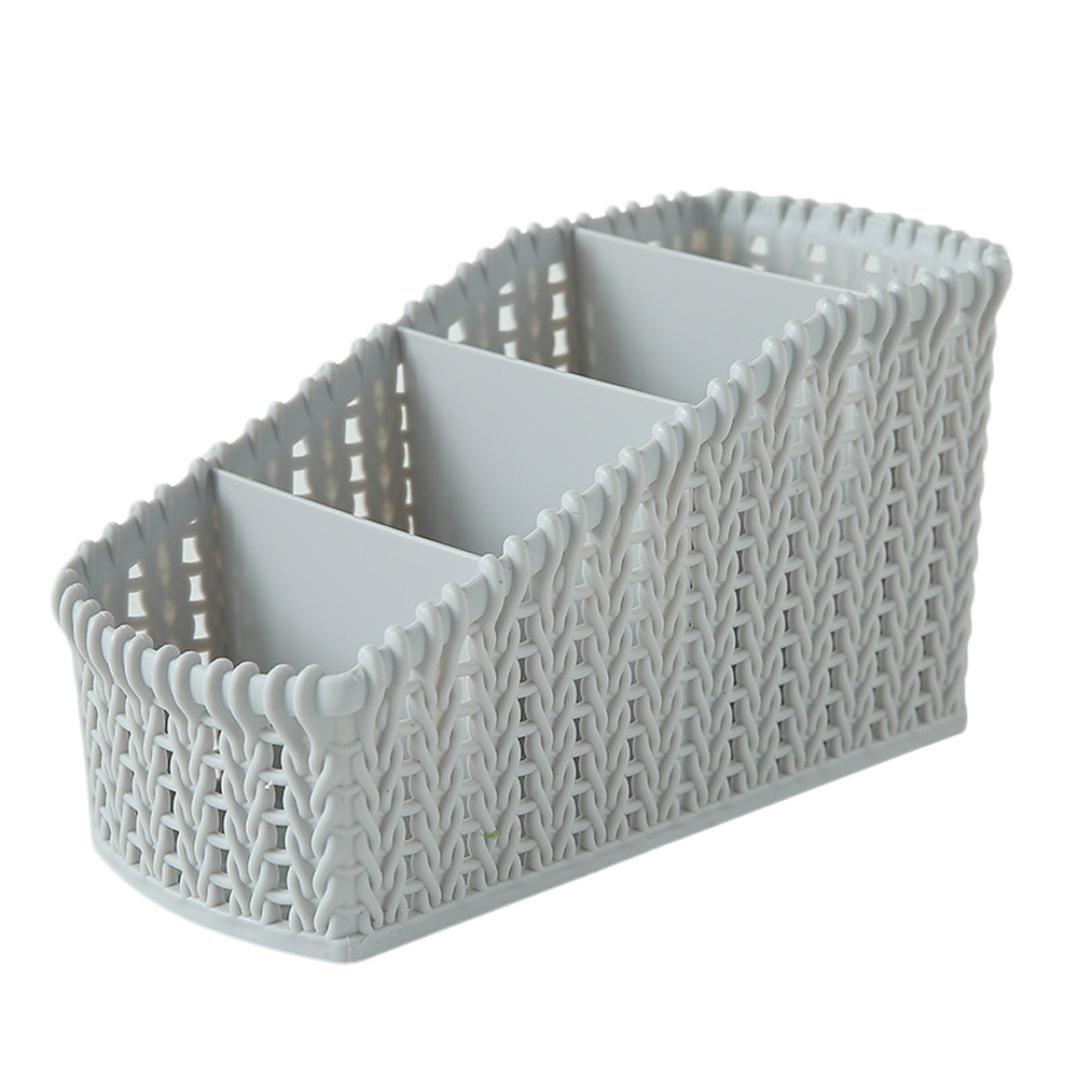 Kecar Cosmetic Storage Basket - Desktop Office Storage Organizer Storage Rack - Creative Three-Layer Makeup Desk Office Supply Organizer (Light Grey)