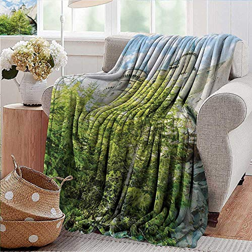 PearlRolan Picnic Blanket,Wizard,Witchcraft School and Wizard Castle in Woods Replica in Japan Picture Print,Green Blue Beige,Colorful | Home, Couch, Outdoor, Travel Use 30