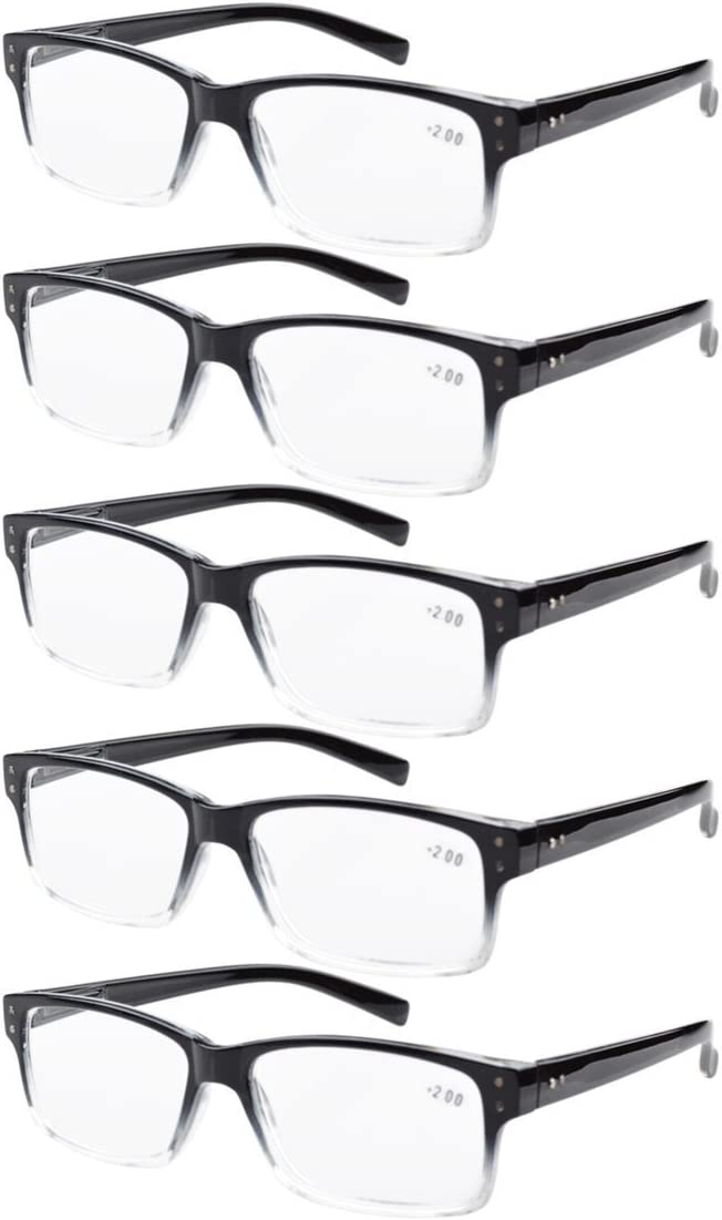 Eyekepper Mens Vintage Reading Glasses-5 Pack,Black 1.25