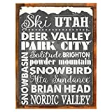 Wood-Framed Ski Utah Metal Sign, Sport, Winter, Mountain, Cabin, Lodge on reclaimed, rustic wood Review