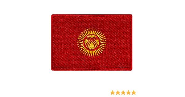Kyrgyzstan Flag Embroidered Patch Kirghizia Iron-On Kyrgyz Republic Emblem