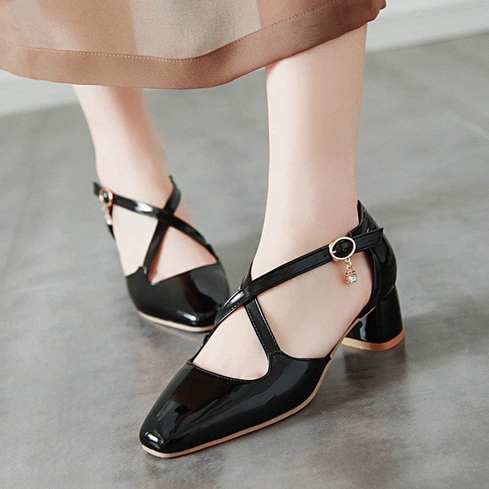 AnMengXinLing Mary Jane Chaussures pour Femme avec Sangle crois/ée et Boucle en Cuir Verni /à Bout carr/é et Strass pour soir/ée de Mariage