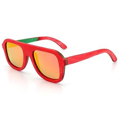 48a7bb2eadb Amazon.com  ROYAL GIRL Wood Sunglasses For Men Polarized Wayfarer Floating  Vintage Retro Square Bamboo Wooden Eyewear(Red Mirrored