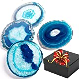 Agate Coasters For Drinks, BIG Natural Crystal Stone Slice, Set of 4-Pack In Gift Box (Hard Cardboard Holder) - Home Decor Match Furniture Setting For Special Occasion, Random Sizes Between 3.5 And 4''