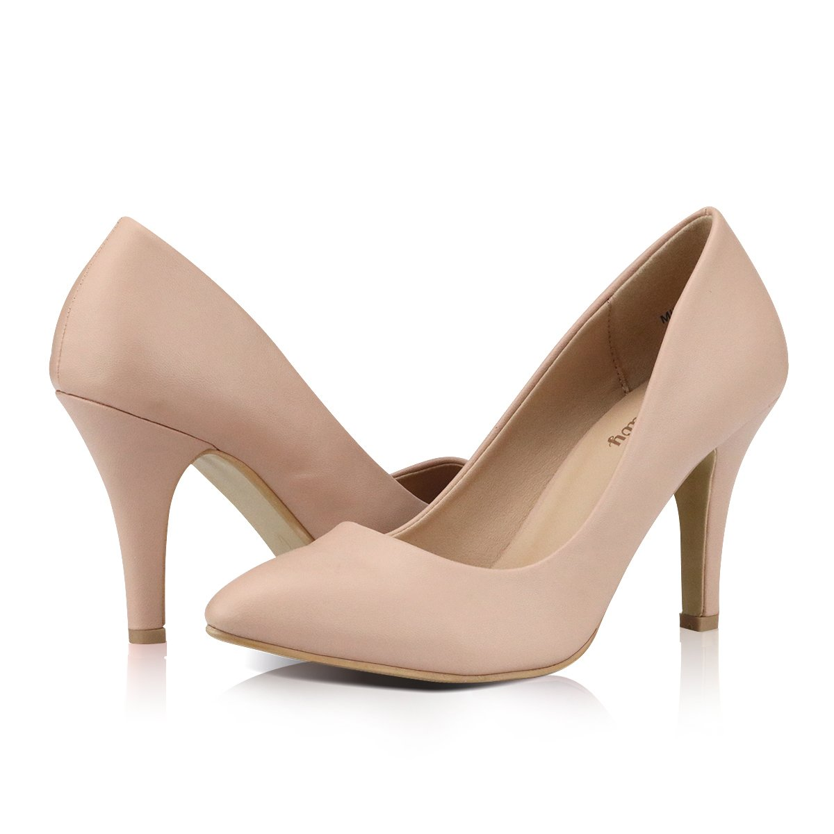Yeviavy High Heels - Women's Pumps Stiletto Pointy Toed Dress Fashion Shoes JennaN Beige PU 7.5