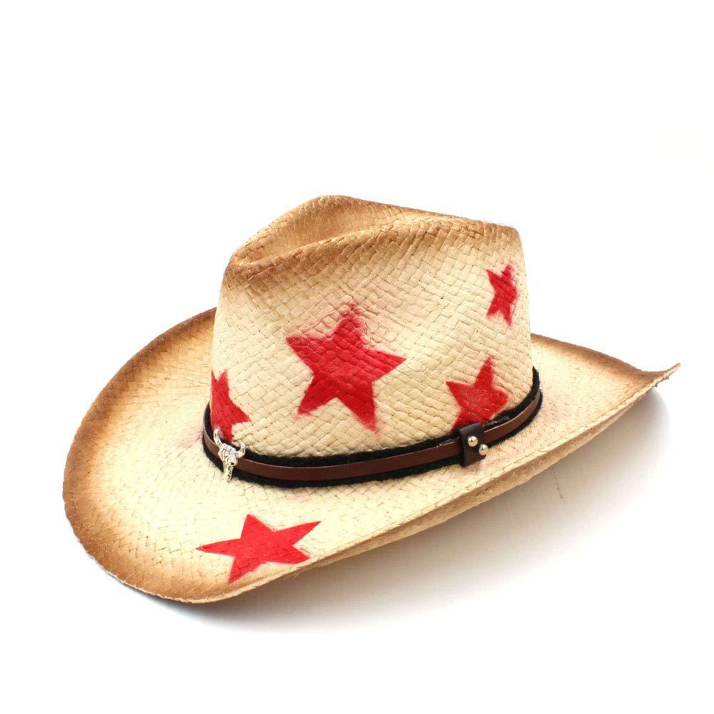 HYF Cappello da Cowboy Western da Cowboy con Foglie Punk Band Star ombrero Hombre Cowgirl Jazz (Colore : Naturale, Dimensione : 58 Centimetri)