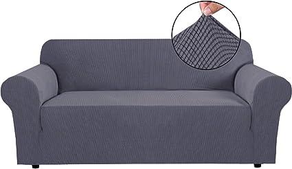 Image ofBellaHills Fundas de sofá elásticas Fundas de sofá de 4 plazas para Sala de Estar Fundas de sofá Fundas con Fondo elástico, Tela Jacquard Gruesa Suave Lavable (sofá de 4 plazas, Gris)