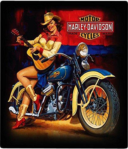 Harley Davidson Playing Around Babe Music Guitar Motorcycle Embossed Metal Sign