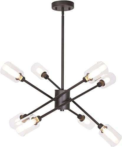 MELUCEE 8 Lights Modern Chandeliers Sputnik Flush Mount Ceiling Light Oil Rubbed Bronze, Mid Century Pendant Light with Clear Glass Shade 8 Bulbs G9 Base Included