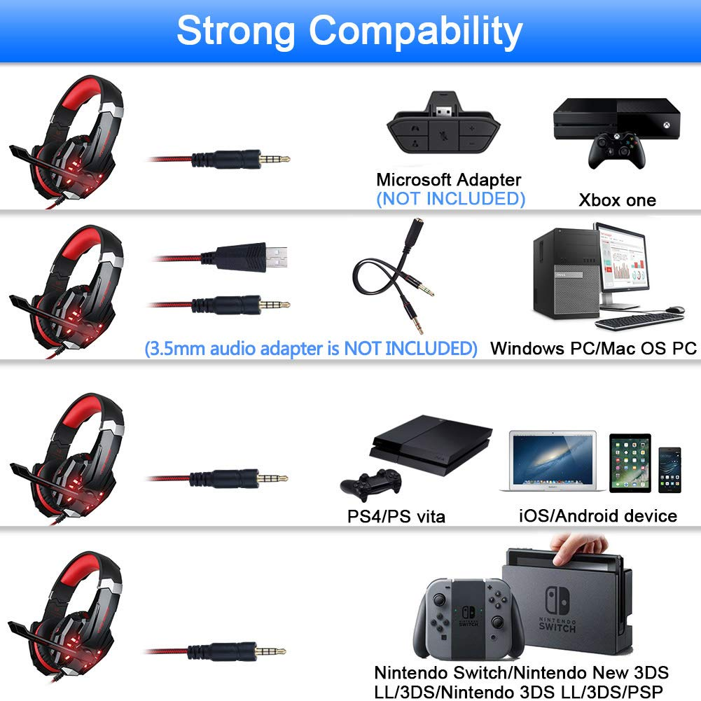 BlueFire Stereo Gaming Headset for PS4, PC, Xbox One Controller, Noise  Cancelling Over Ear Headphones with Mic, LED Light, Bass Surround, Soft  Memory