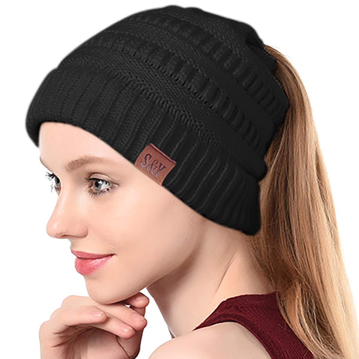 SIHOHAN Women Beanie Hat Trendy Knit Hats Soft Strech Cable Bun Ponytail Winter Hat