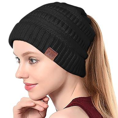 SIHOHAN Women Beanie Hat Trendy Knit Hats Soft Strech Cable Bun Ponytail Winter  Hat 59b8166d81a