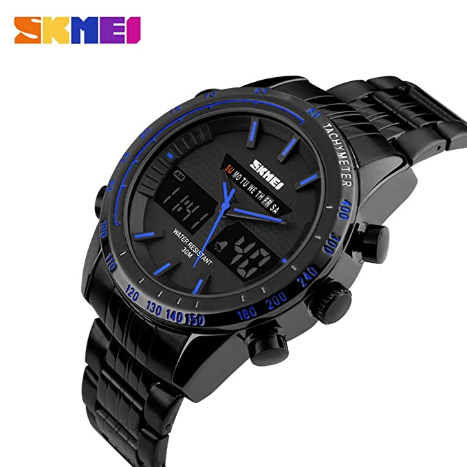 Amazon.com: SKMEI 1131 Stainless Steel LED And Pointer Display 50M Waterproof Calendar Stopwatch Sports Watch: Watches