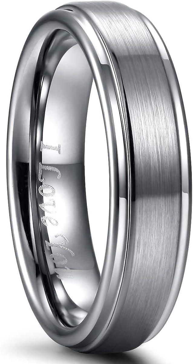 Mens Wedding Ring Band Tungsten Carbide Ring for Men Women Rose Gold/Grey/Black Matte Brushed Engagement Band 6mm 8mm Comfort Fit Engraved'I Love You'