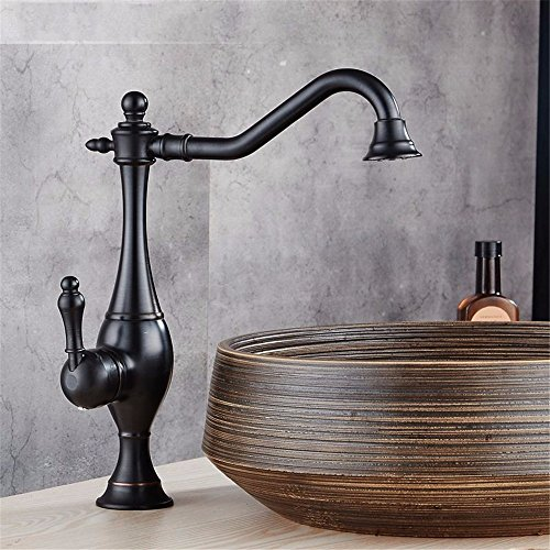 Bathroom Sink Faucet Vintage brass chrome one handle one hole ceramic valvehot and cold water360 degree rotatable bathroom basin faucet, B