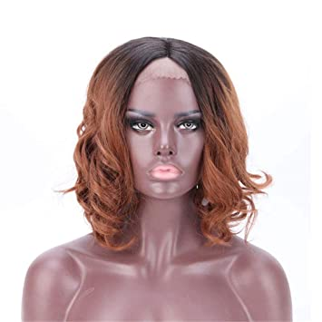 """SNOILITE 16"""" 40Cm Body Wavy Bob Lace Front Wig Heat Resistant Synthetic Hair Full Wigs"""