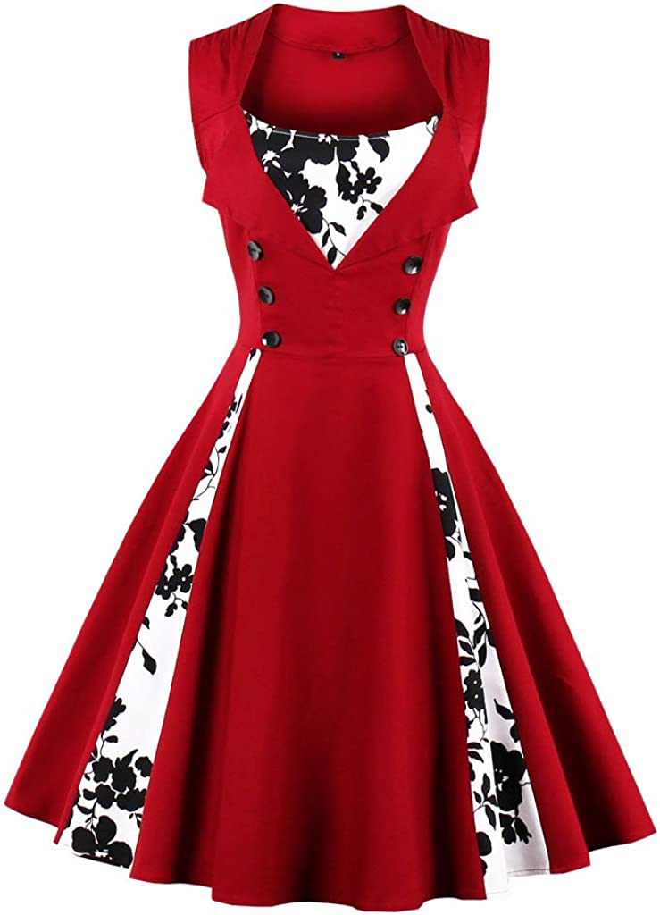 TALLA S. VERNASSA 50s Vestidos Vintage,Mujeres 1950s Vintage A-Line Rockabilly Clásico Verano Dress for Evening Party Cocktail, Multicolor, S-Plus Size 4XL 1357f-vino Rojo
