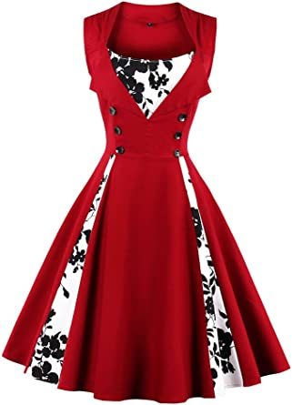 TALLA 4XL. VERNASSA 50s Vestidos Vintage,Mujeres 1950s Vintage A-Line Rockabilly Clásico Verano Dress for Evening Party Cocktail, Multicolor, S-Plus Size 4XL 1357f-vino Rojo