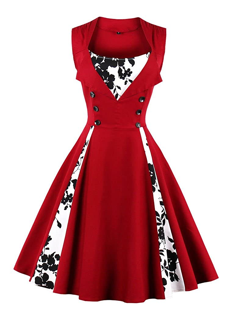 TALLA L. VERNASSA 50s Vestidos Vintage,Mujeres 1950s Vintage A-Line Rockabilly Clásico Verano Dress for Evening Party Cocktail, Multicolor, S-Plus Size 4XL 1357f-vino Rojo