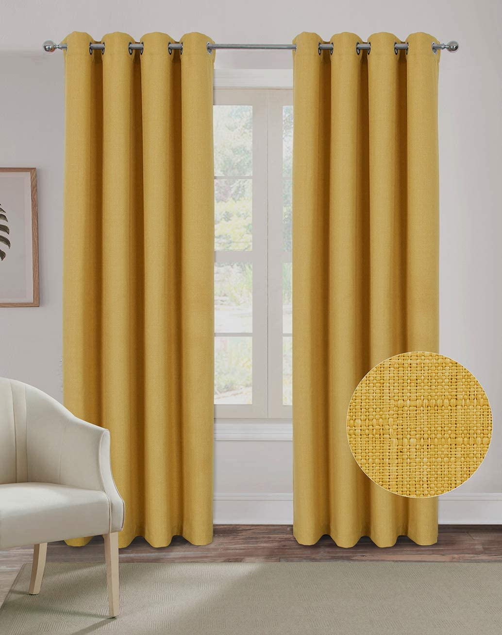 Alexandra Cole Faux Linen Curtains for Living Room Bedroom Textured Curtains 108 Inch Length Burlap Window Curtains 2 Panels Yellow