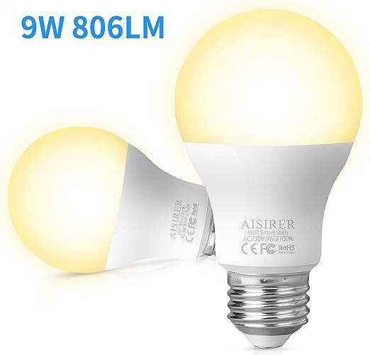 style exquis comment choisir personnalisé AISIRER Ampoule Connectee Ampoule LED WiFi Intelligente 9W 806LM Compatible  avec Amazon Alexa Echo, Google Home Assistant E27 Dimmable Lumière chaude  ...