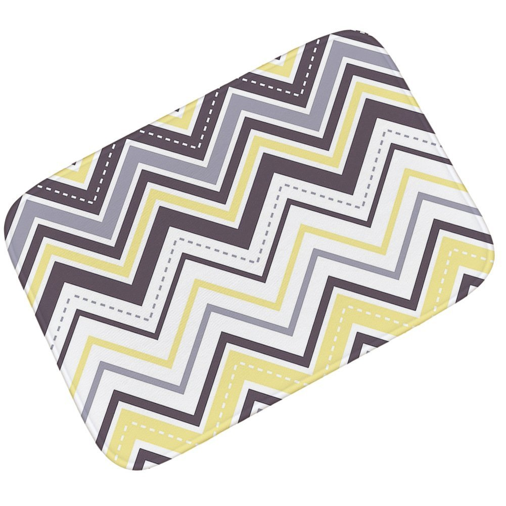 Grey Yellow Chevron Patterned Welcome Doormats Entrance Floor Mat Rug Indoor/Outdoor Easy Clean Non Slip Backing Doormat for Home Front Entry, Garage Outside,Patio Inside Floor,31.5'' W x 19.7'' H