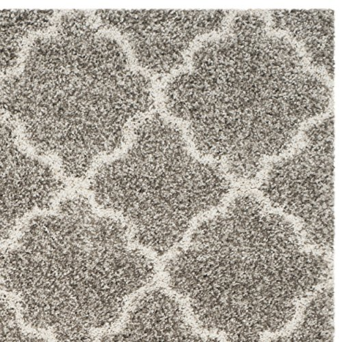 Safavieh Hudson Shag Collection SGH282B Grey and Ivory Moroccan Geometric Quatrefoil Area Rug (9' x 12')