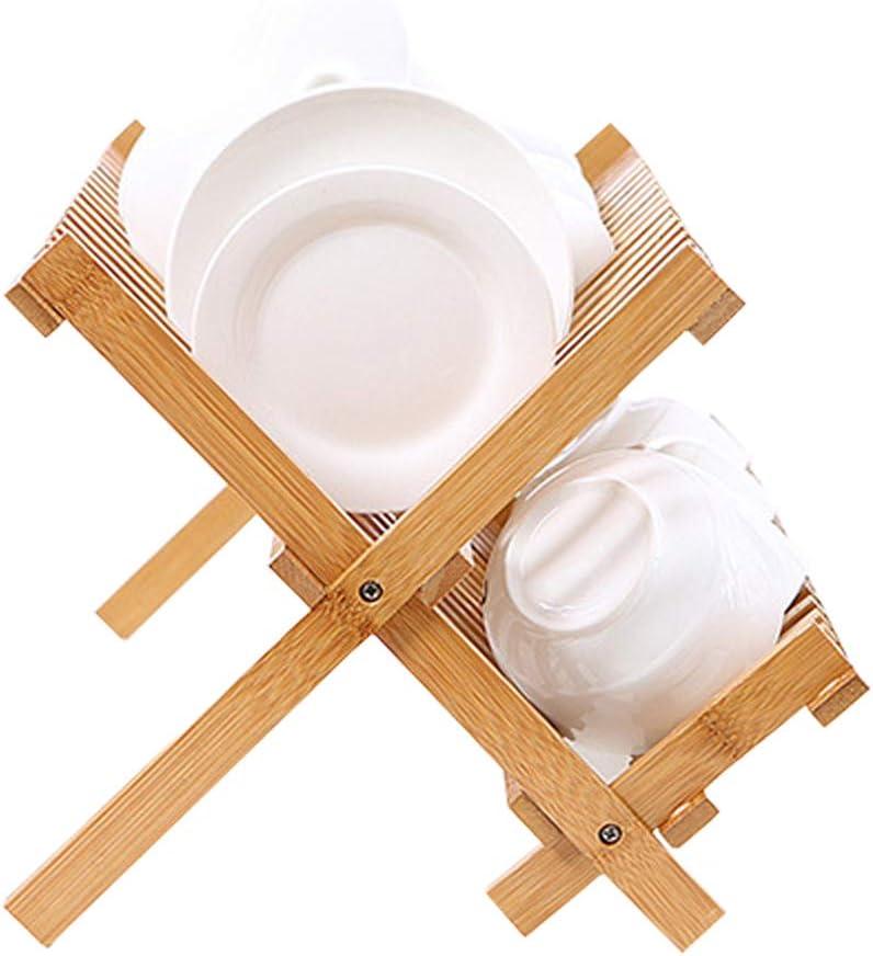 Bambú Cesto De La Cena Plegable Secador De Mesa De Madera Plato Rack Titular, Plegable Cena De La Cena Secador De Madera Compacto Cesta De La Cocina Cesta