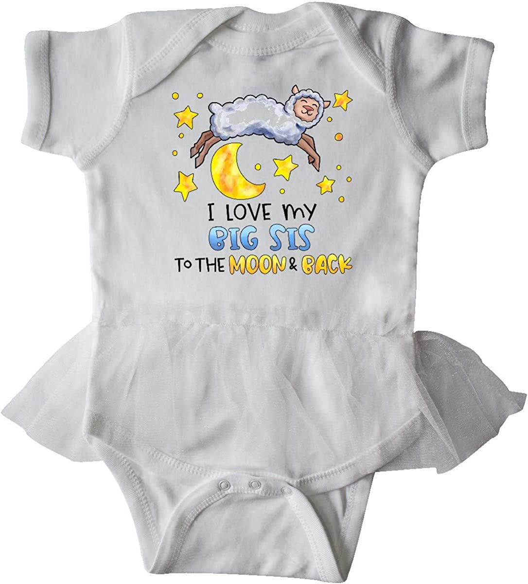 inktastic I Love My Big Sis to The Moon and Back Cute Sheep Infant Tutu Bodysuit