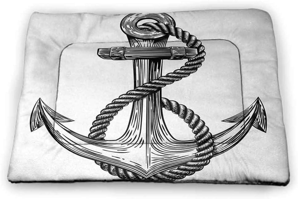 Nomorer Pad Pet Anchor Housebreaking Absorption Pads Vintage Dark Blue Ship Anchors Framed by Round Chain Borders Marine Design Dark Blue White