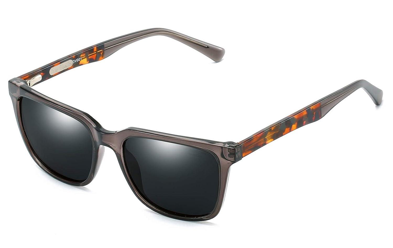 Grey Tortoise Frame Black Lens DIO VENTO Vintage Polarized Sunglasses for Men Women Rectangular UV400 Driving