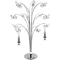 HOHIYA Jewelry Jewellery Necklace Tree Display Stand Holder Organizer Storage Hanger Earring Rings with Gem Chrome Plated Gift Home Party Mother Women Decorations 20inch(Silver)