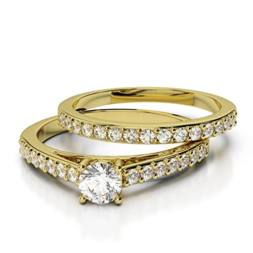 Oro rosa/oro blanco/oro amarillo/Platinum Diamond Juego de Anillos de Boda