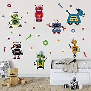 Runtoo Robots Wall Decals Educational Wall Art Stickers for Classroom Kids Boys Bedroom Wall Décor