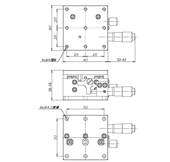 Z-axis Precision Fine-tune Platform 60X60MM Sliding Table V-rail Load 20.4N